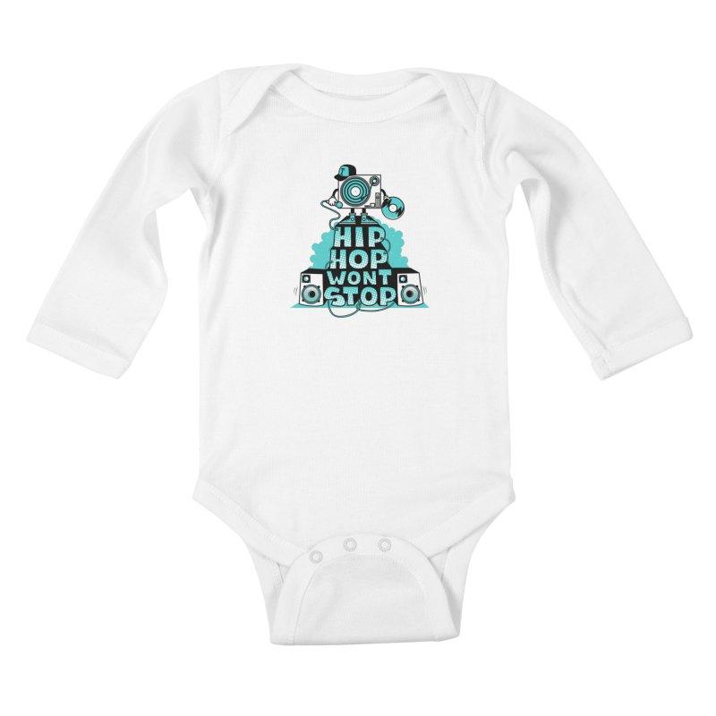HIP-HOP WON'T STOP Kids Baby Longsleeve Bodysuit by jumpy's Artist Shop
