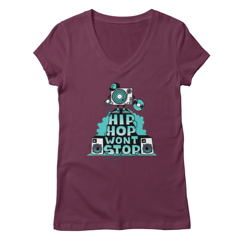 HIP-HOP WON'T STOP Women's V-Neck by jumpy's Artist Shop