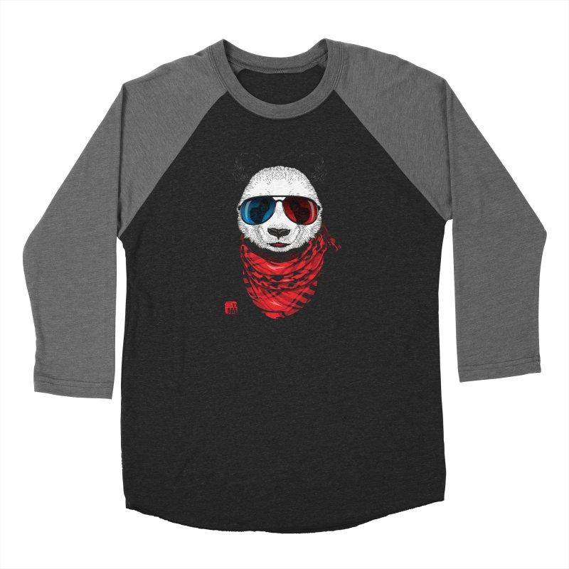 3D Panda Men's Baseball Triblend Longsleeve T-Shirt by Jun087