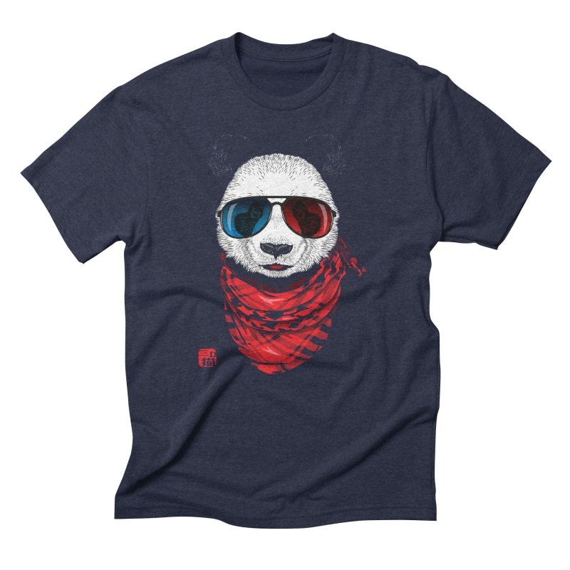 3D Panda Men's Triblend T-shirt by Jun087
