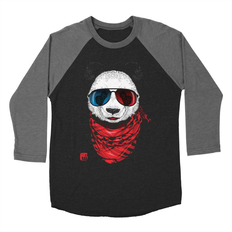 3D Panda Women's Baseball Triblend Longsleeve T-Shirt by Jun087