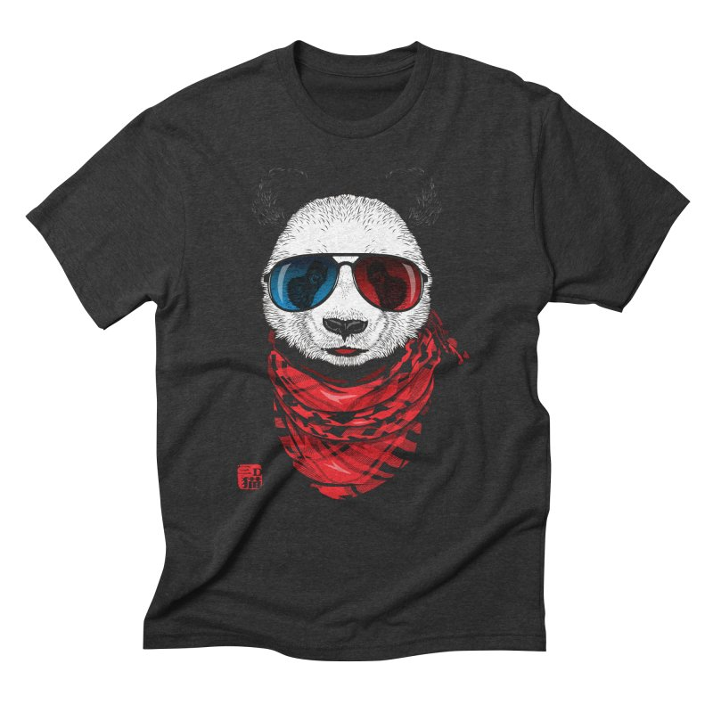 3D Panda Men's Triblend T-shirt by Jun087