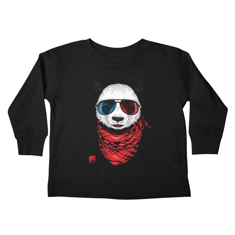 3D Panda Kids Toddler Longsleeve T-Shirt by Jun087