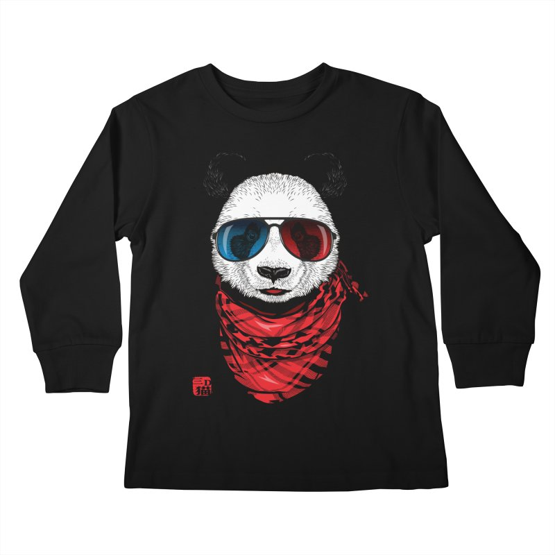 3D Panda Kids Longsleeve T-Shirt by Jun087