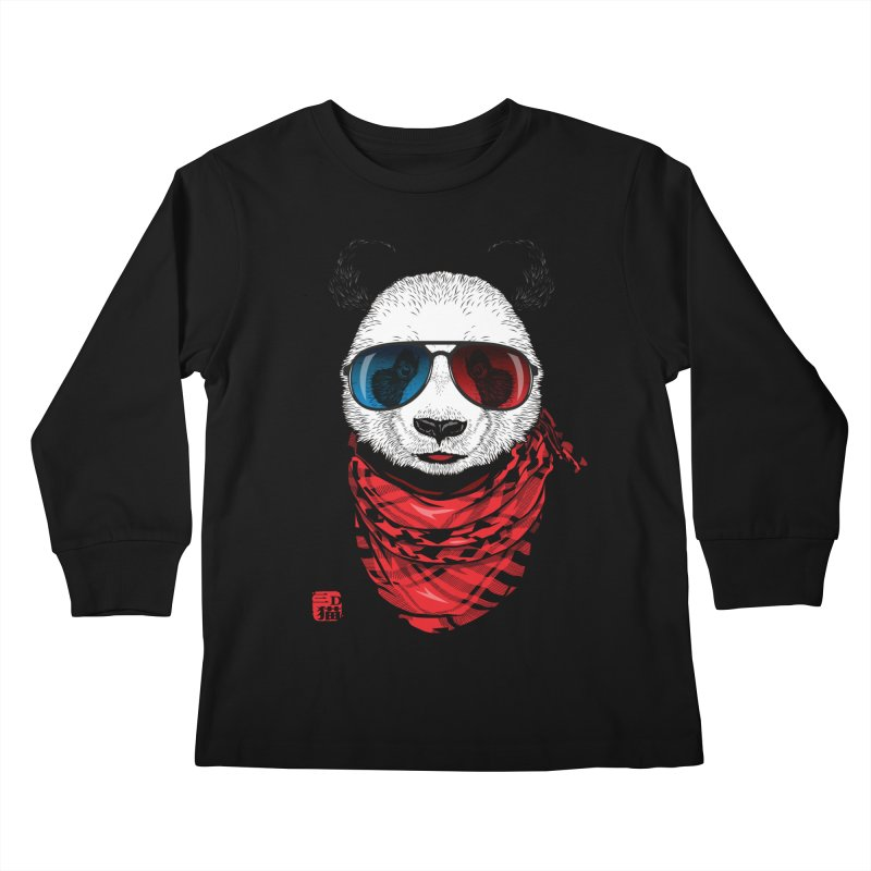 3D Panda Kids Longsleeve T-Shirt by Jun087