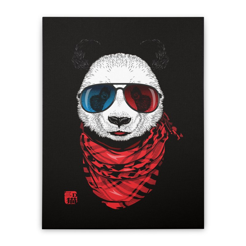 3D Panda Home Stretched Canvas by Jun087