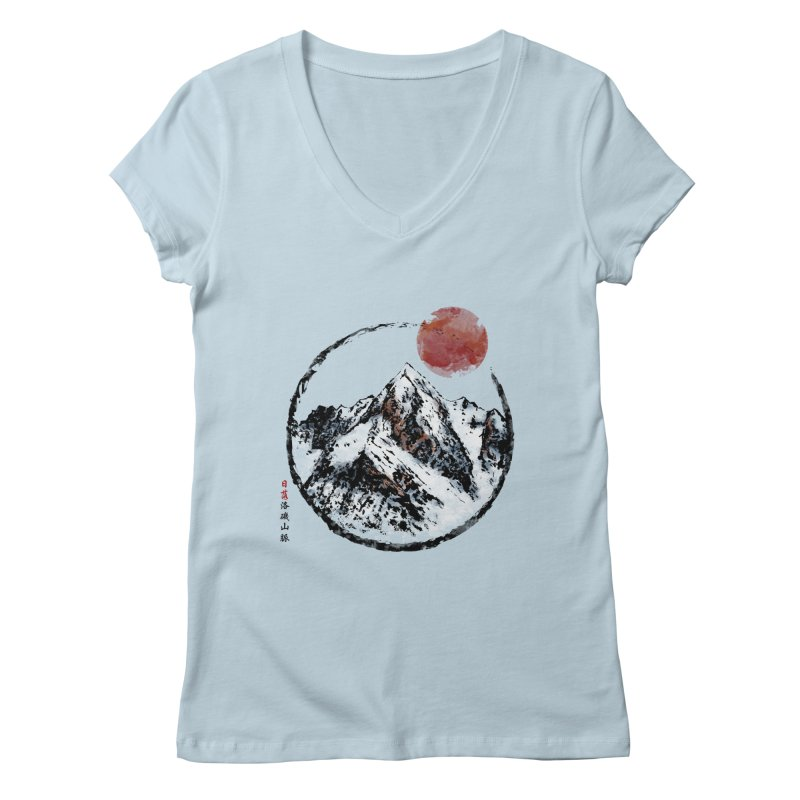 Sunset in Rocky Mountain Women's Regular V-Neck by Jun087