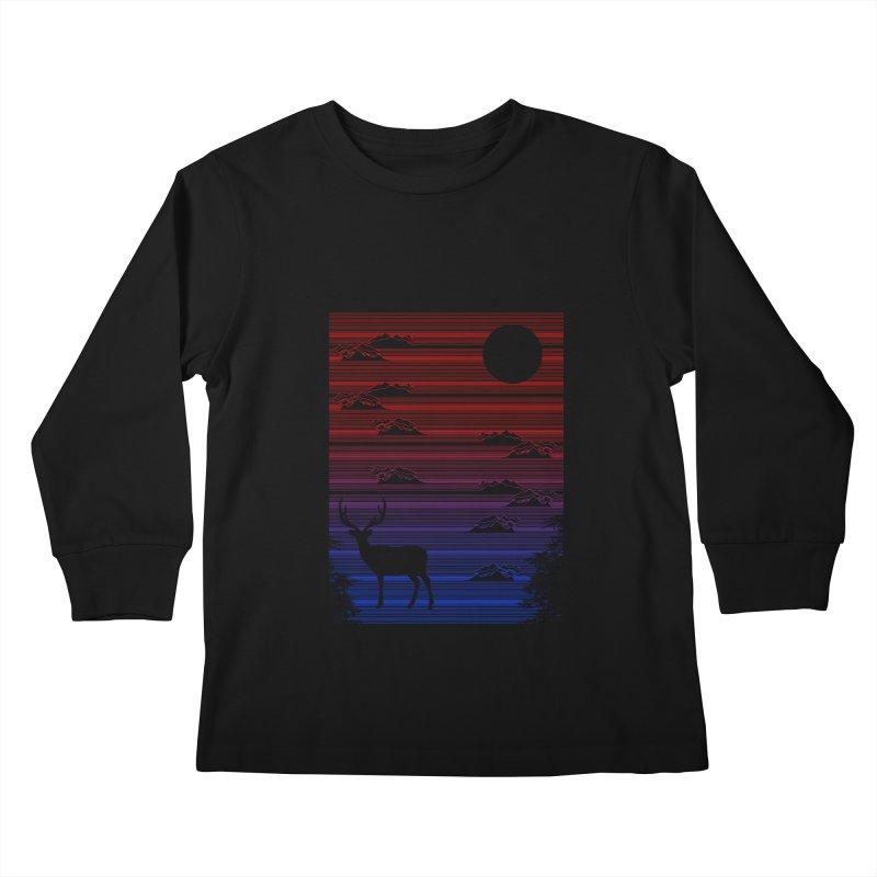 midnight lines  Kids Longsleeve T-Shirt by jun21's Artist Shop