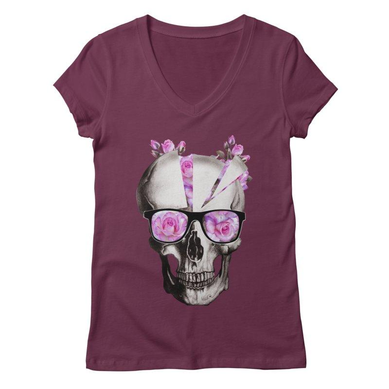 cool skull  Women's V-Neck by jun21's Artist Shop