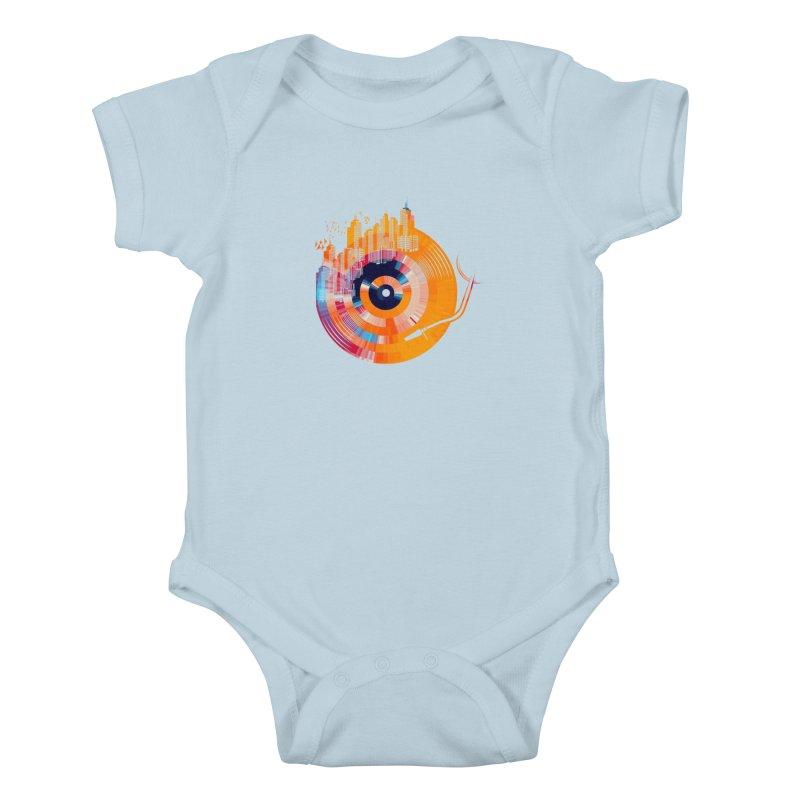 vinyl city Kids Baby Bodysuit by jun21's Artist Shop