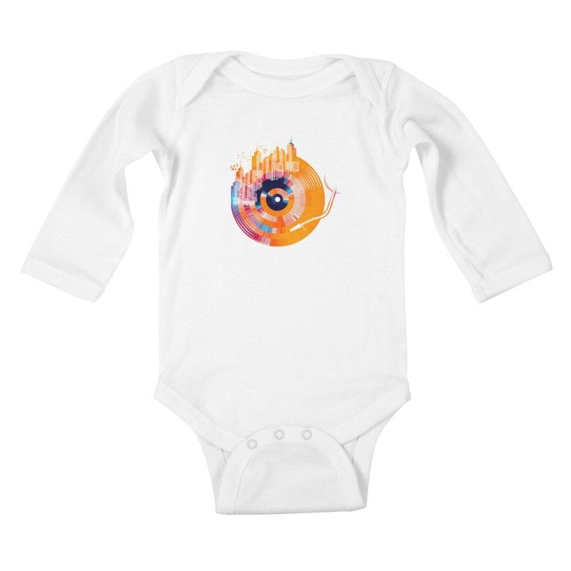 vinyl city Kids Baby Longsleeve Bodysuit by jun21's Artist Shop