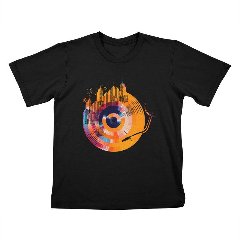 vinyl city Kids T-Shirt by jun21's Artist Shop
