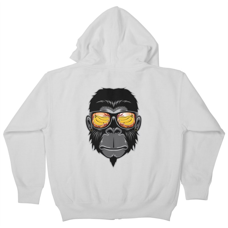 cool monkey Kids Zip-Up Hoody by jun21's Artist Shop