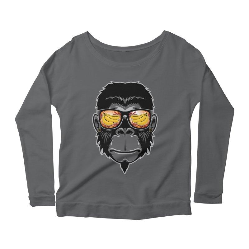 cool monkey Women's Longsleeve Scoopneck  by jun21's Artist Shop