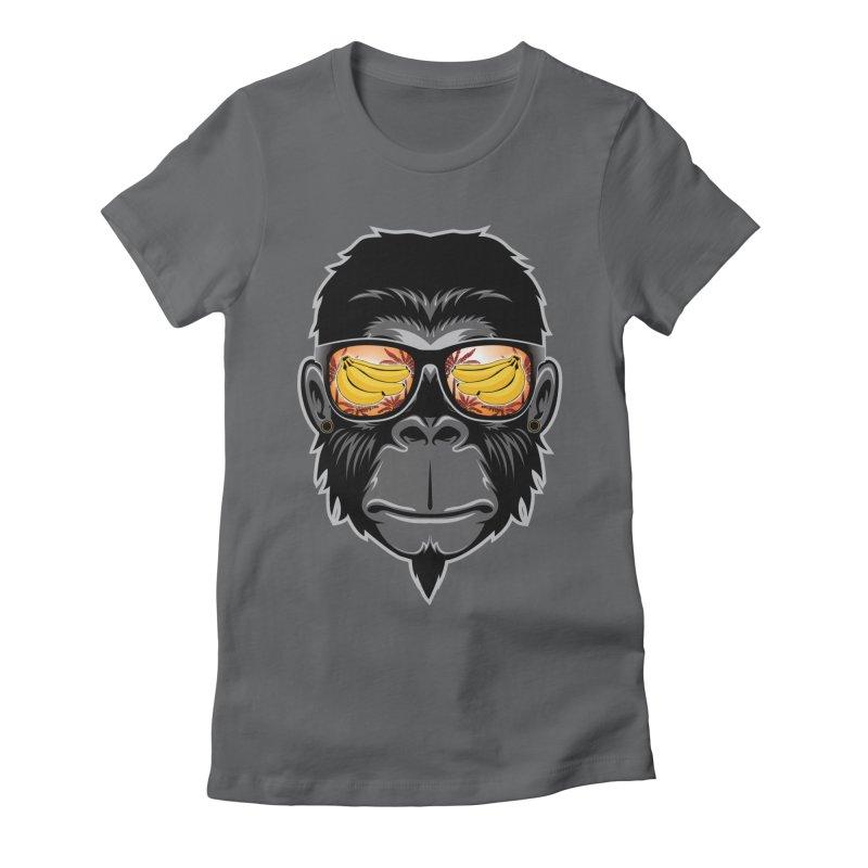 cool monkey Women's Fitted T-Shirt by jun21's Artist Shop