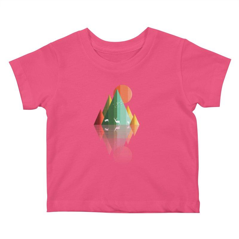 mountain deer Kids Baby T-Shirt by jun21's Artist Shop