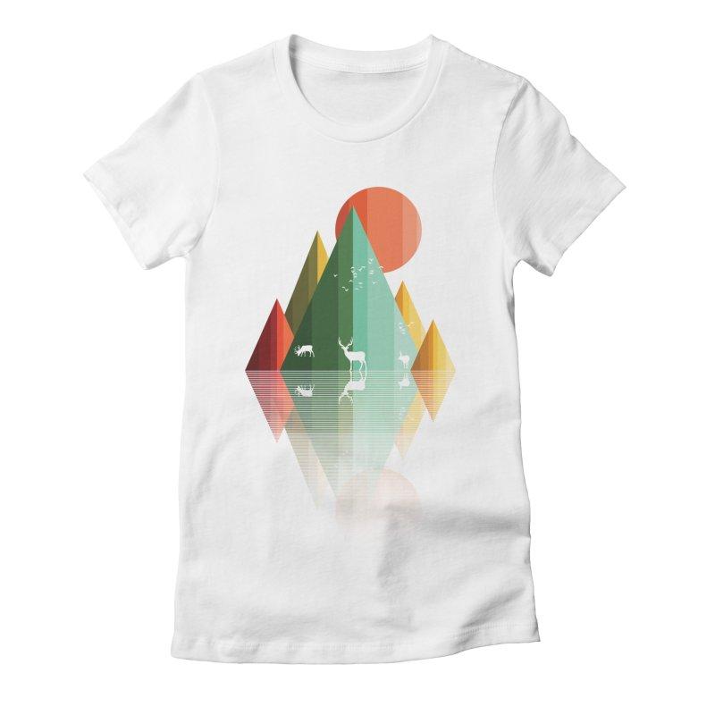 mountain deer Women's Fitted T-Shirt by jun21's Artist Shop