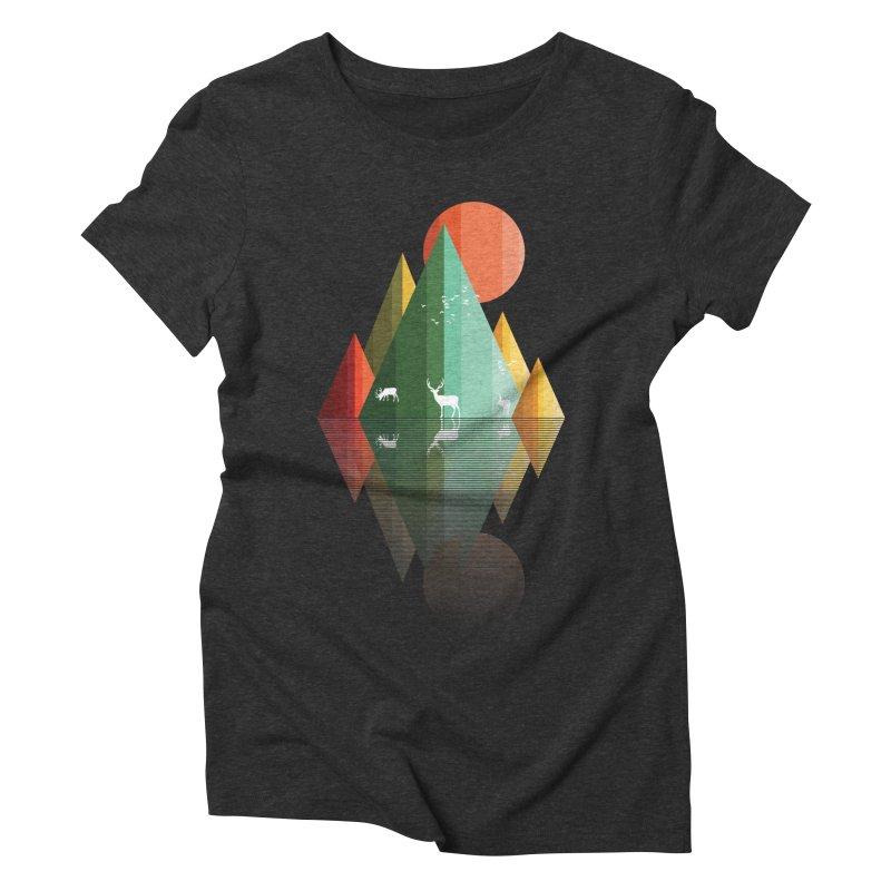 mountain deer Women's Triblend T-Shirt by jun21's Artist Shop