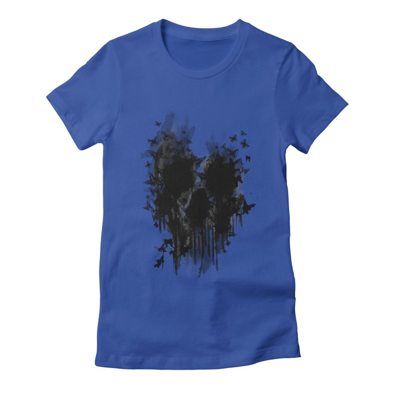 butterfly skull  Women's Fitted T-Shirt by jun21's Artist Shop