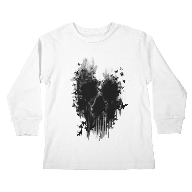 butterfly skull  Kids Longsleeve T-Shirt by jun21's Artist Shop