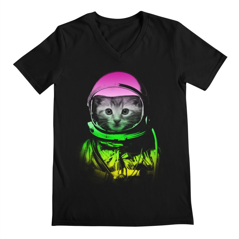 astronaut cat  Men's V-Neck by jun21's Artist Shop