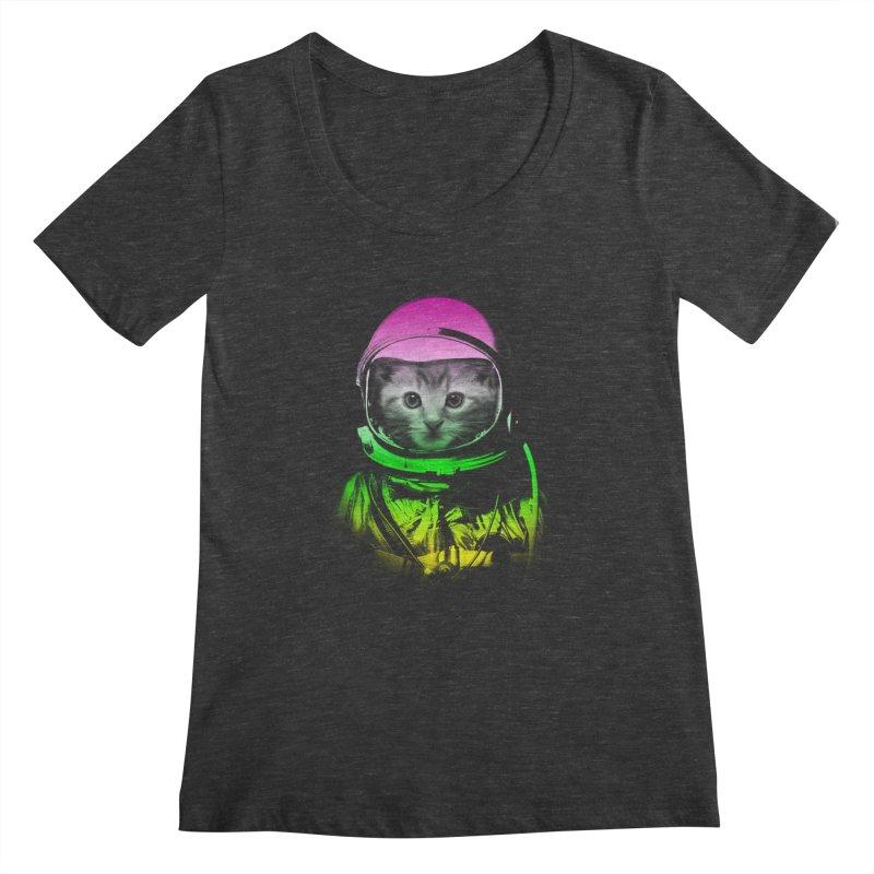 astronaut cat  Women's Scoopneck by jun21's Artist Shop