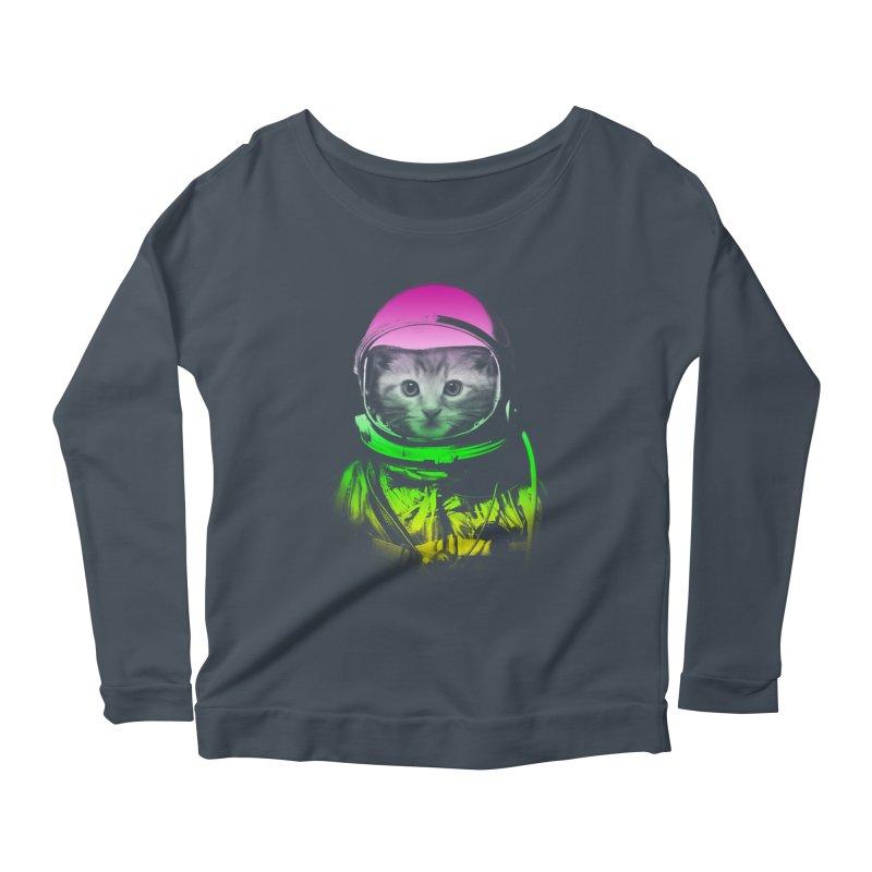 astronaut cat  Women's Longsleeve Scoopneck  by jun21's Artist Shop