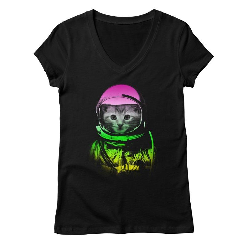 astronaut cat  Women's V-Neck by jun21's Artist Shop