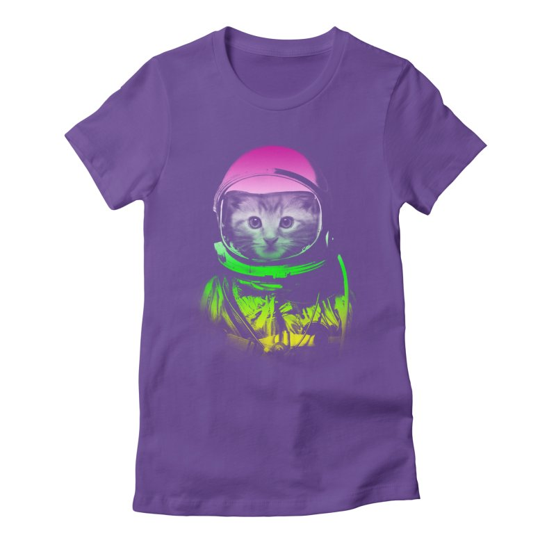 astronaut cat  Women's Fitted T-Shirt by jun21's Artist Shop