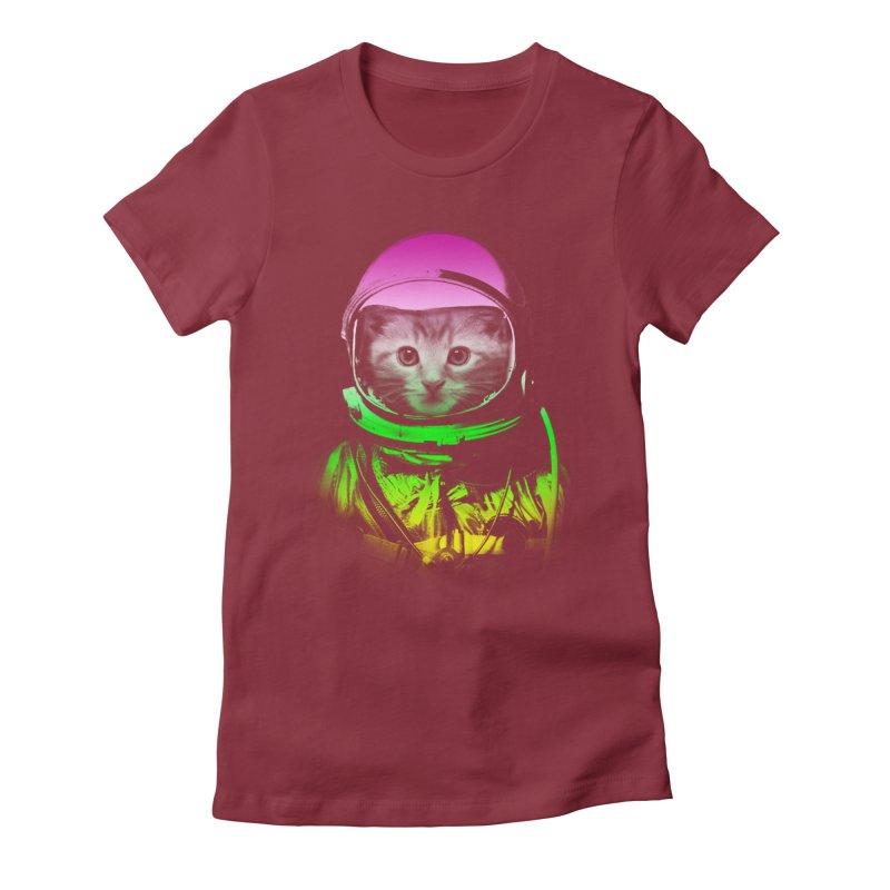 astronaut cat  Women's Fitted T-Shirt by jun21's Artist Shop