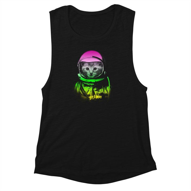 astronaut cat  Women's Muscle Tank by jun21's Artist Shop