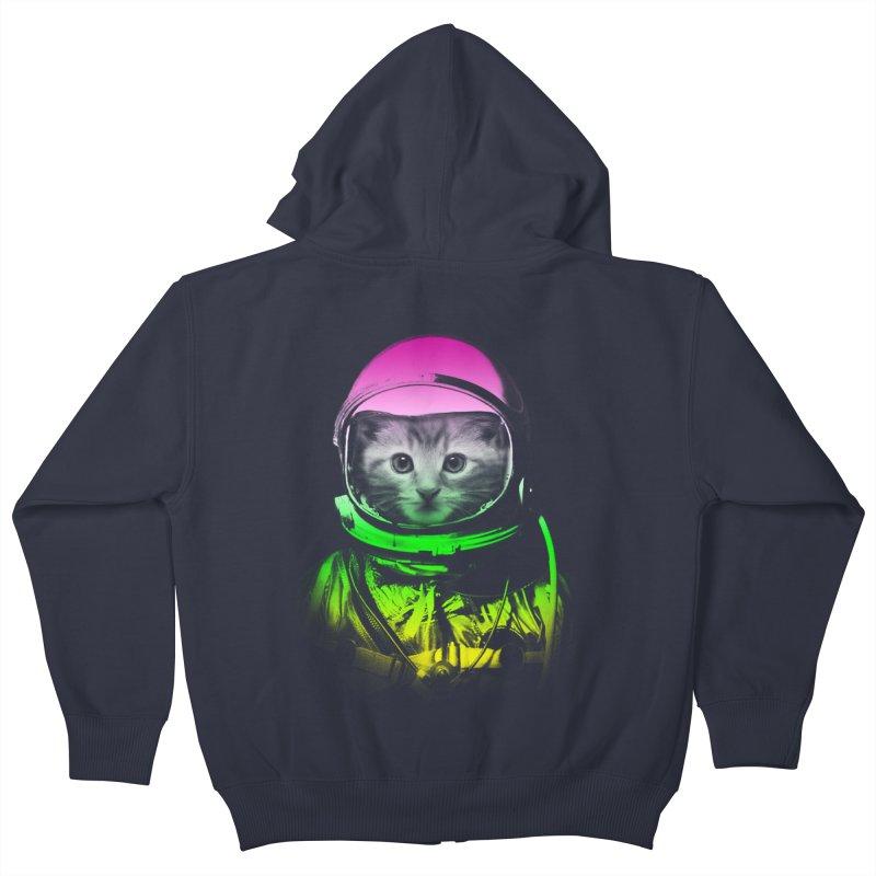 astronaut cat  Kids Zip-Up Hoody by jun21's Artist Shop