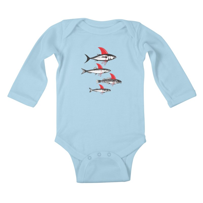 fish attack  Kids Baby Longsleeve Bodysuit by jun21's Artist Shop