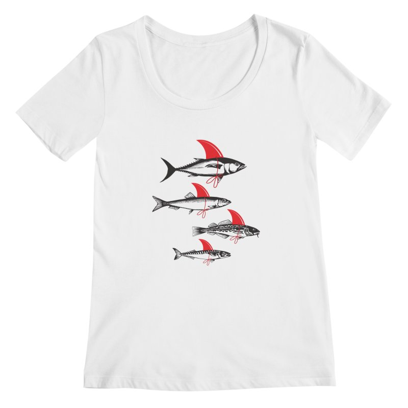 fish attack  Women's Scoopneck by jun21's Artist Shop