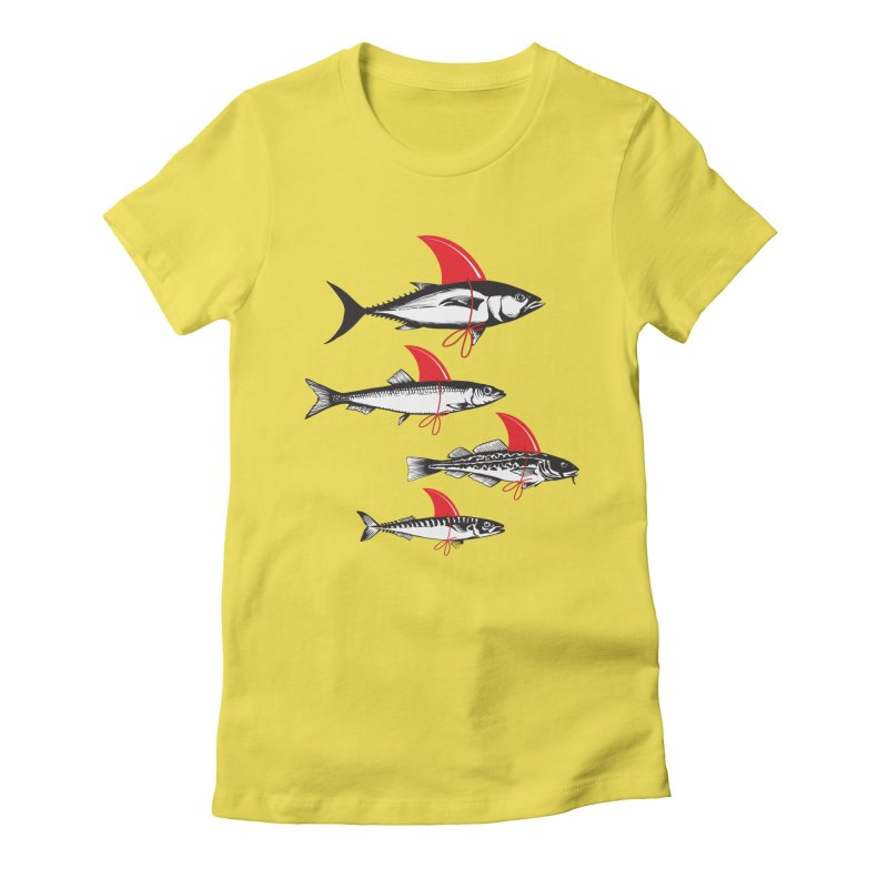 fish attack  Women's Fitted T-Shirt by jun21's Artist Shop