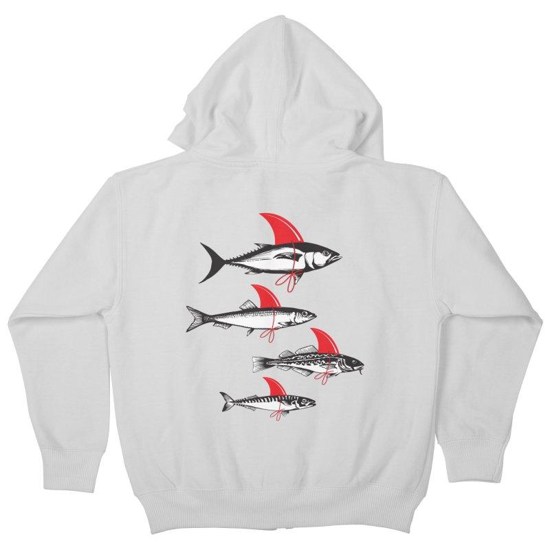 fish attack  Kids Zip-Up Hoody by jun21's Artist Shop