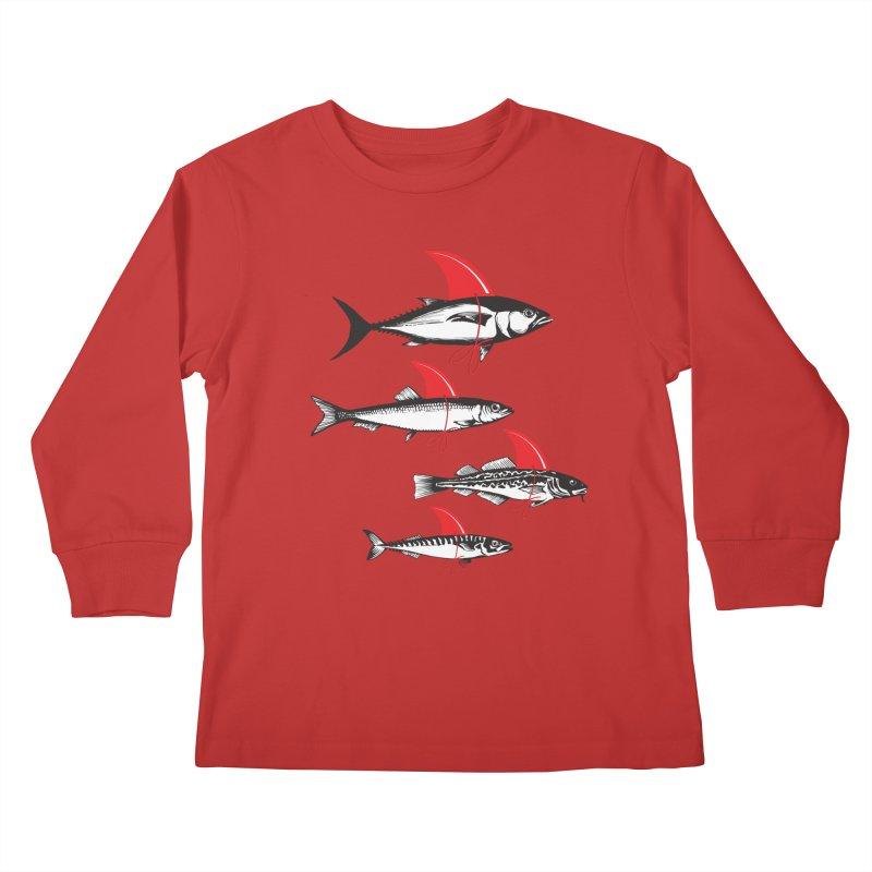 fish attack  Kids Longsleeve T-Shirt by jun21's Artist Shop