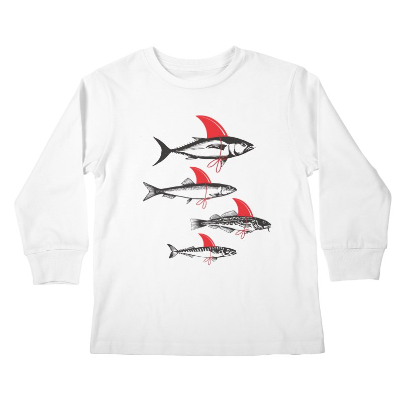 fish attack  Kids Longsleeve T-Shirt by jun21's Artist Shop