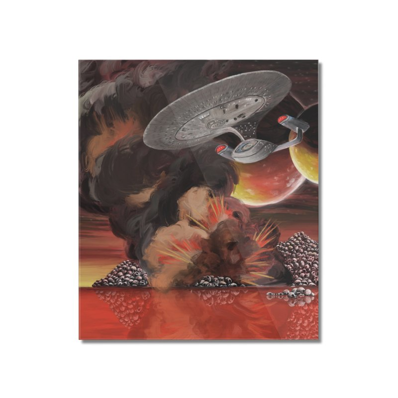 The Enterprise over Skull Mountain Lake Home Mounted Acrylic Print by Jungle Girl Designs