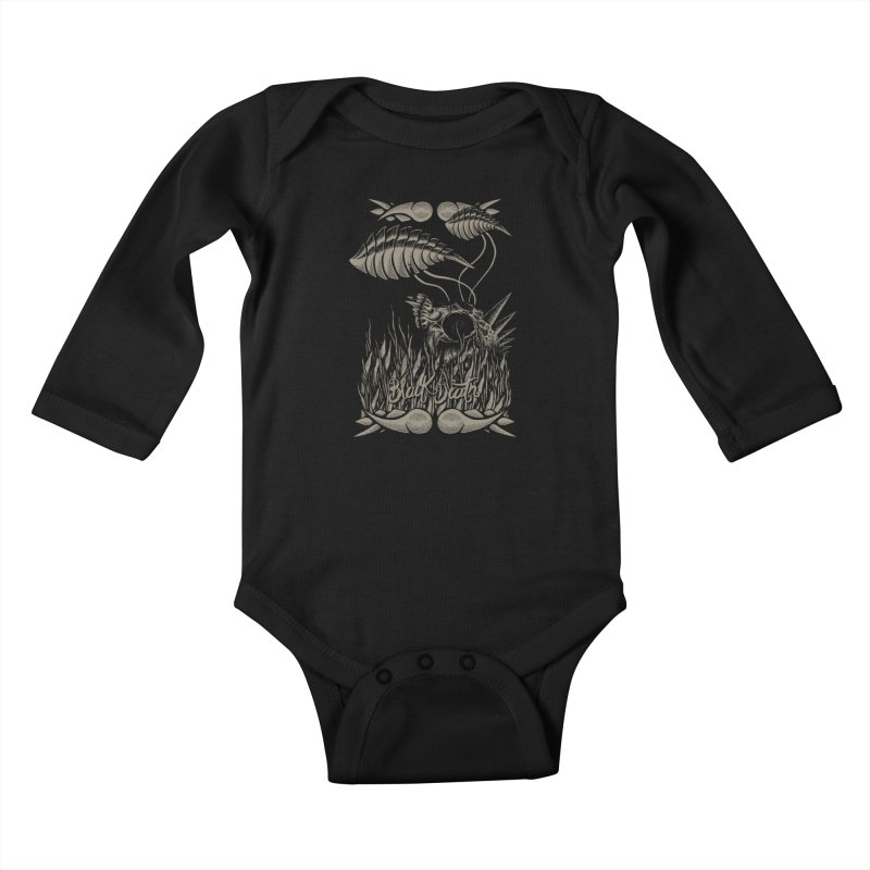 Black Death Kids Baby Longsleeve Bodysuit by junkart's Artist Shop