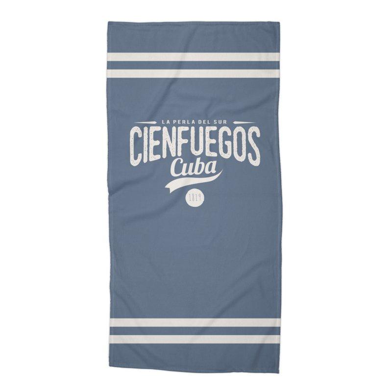 Cienfuegos Vintage Grunge Logo Accessories Beach Towel by Cuba Junky's Gift Shop