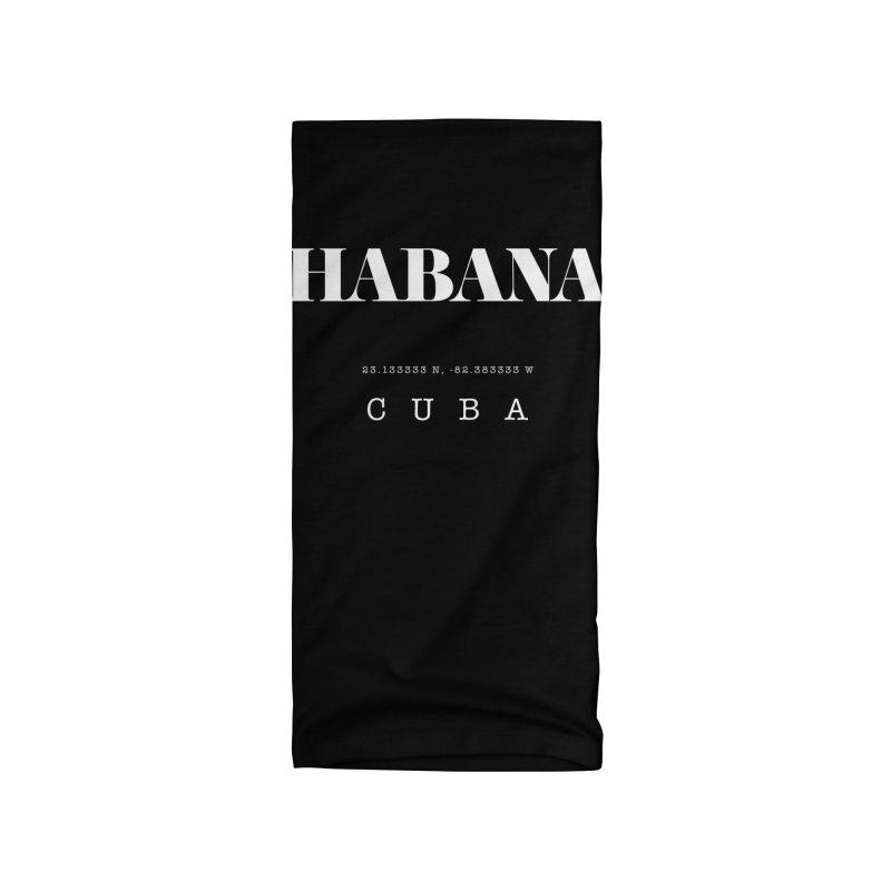 Habana Cuba GPS Coordinates Accessories Neck Gaiter by Cuba Junky's Gift Shop