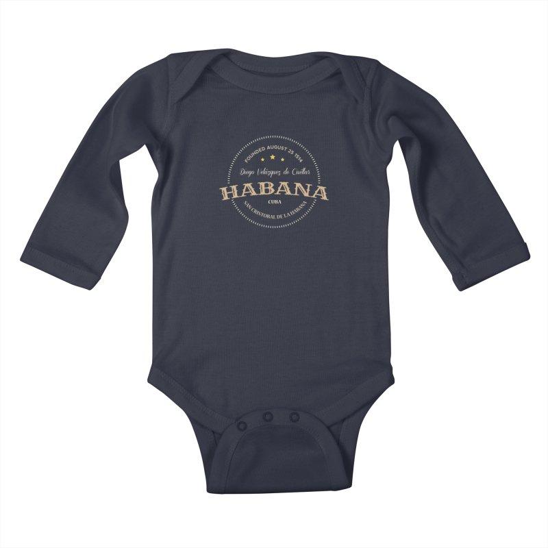 Havana 1514 Vintage Badge Kids Baby Longsleeve Bodysuit by Cuba Junky's Gift Shop
