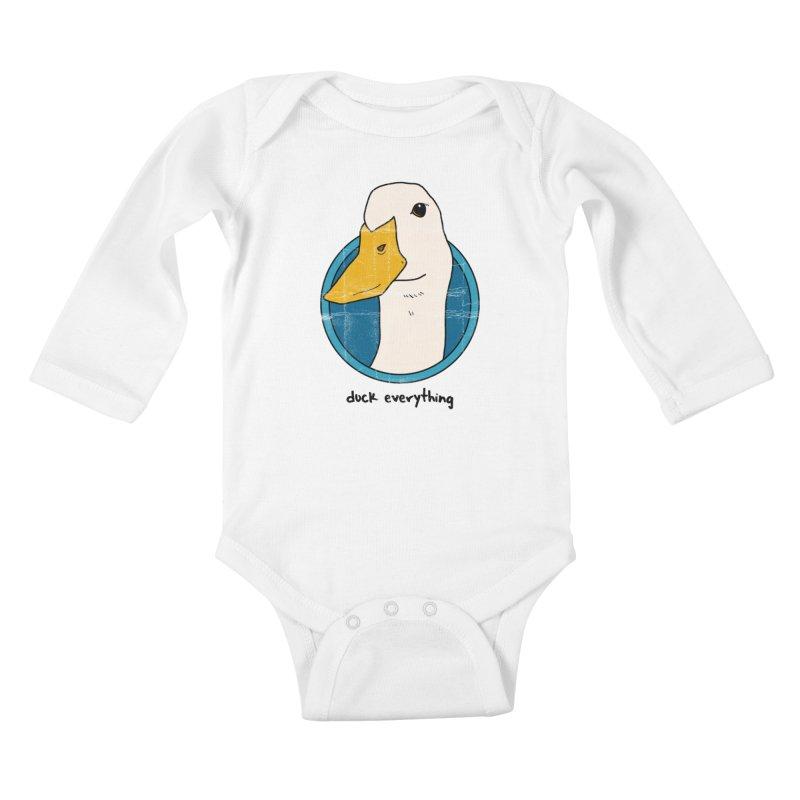 Duck Everything Kids Baby Longsleeve Bodysuit by jussikarro's Artist Shop