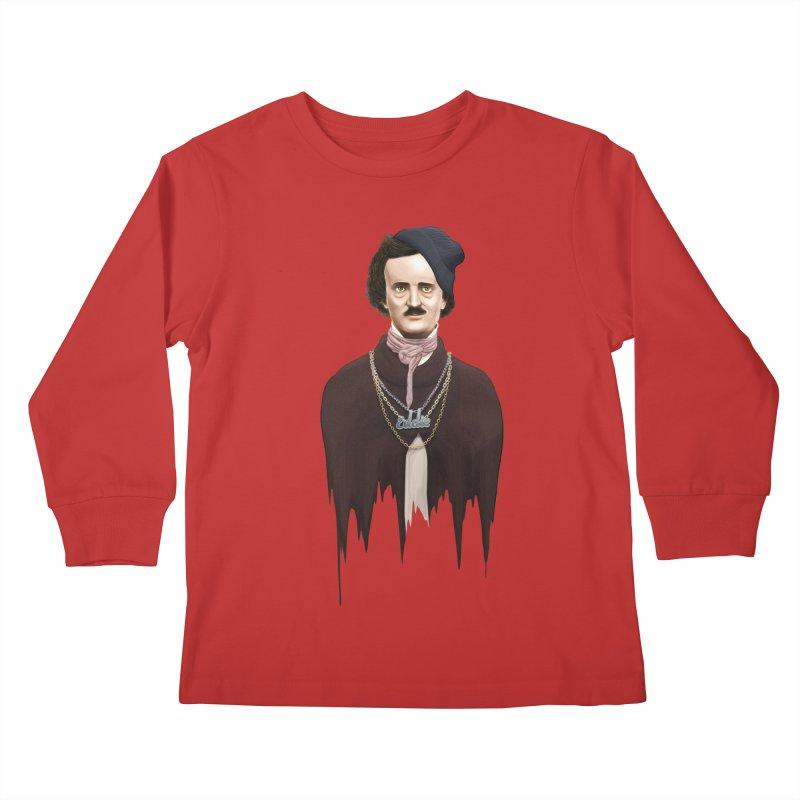 Eddie Poe Kids Longsleeve T-Shirt by jussikarro's Artist Shop