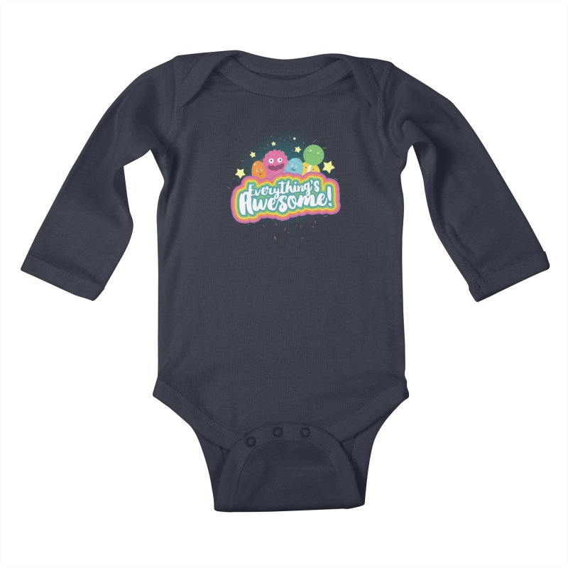 Everything's Awesome! Kids Baby Longsleeve Bodysuit by jussikarro's Artist Shop