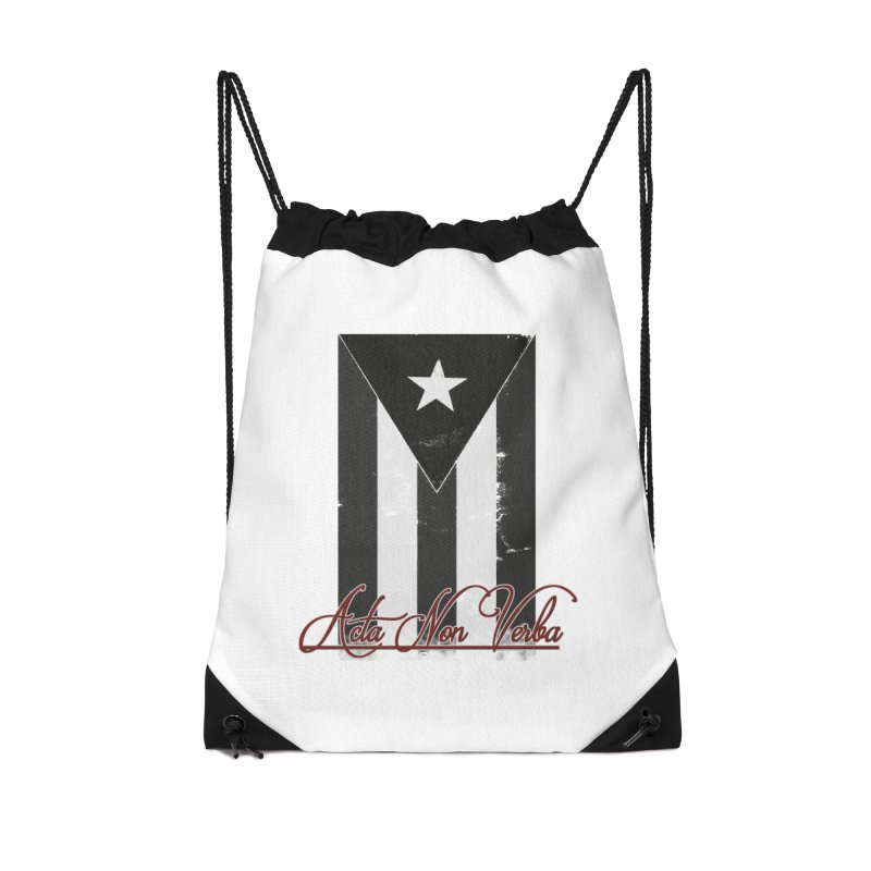 Boricua, Acta Non Verba Accessories Drawstring Bag Bag by Justifiable Concepts Apparel and Goods