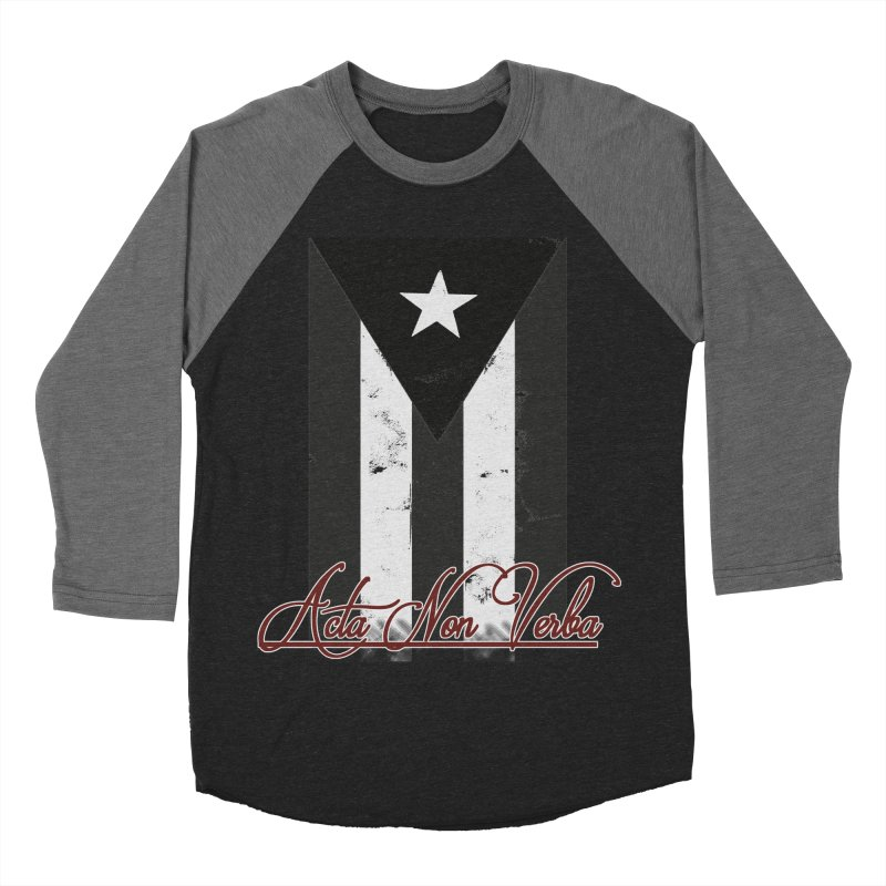 Boricua, Acta Non Verba Men's Baseball Triblend Longsleeve T-Shirt by Justifiable Concepts Apparel and Goods