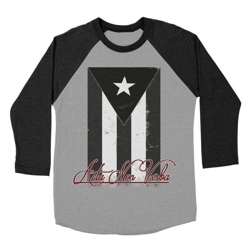 Boricua, Acta Non Verba Men's Baseball Triblend Longsleeve T-Shirt by Justifiable Concepts Apparel and Goods