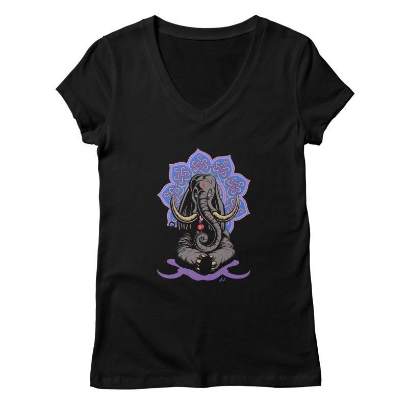 Ganesha Lollipop shirt Women's V-Neck by Hamptonia, Justin Hampton's Artist Shop